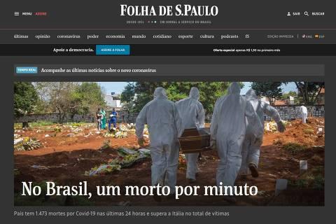 Folha teve capas especiais para marca de um morto por minuto; veja iniciativas