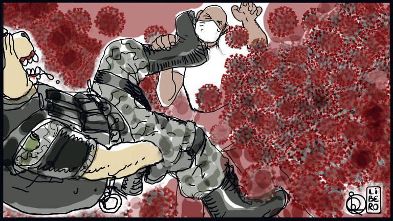 Ilustração de pessoa com cabeça de cachorro e uniforme camuflado com o pé no pescoço de outra pessoa que veste roupa branca e máscara. Em volta da cena, há vários vírus vermelhos