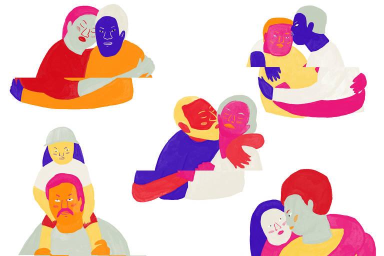 Cinco duplas de pessoas se abraçando