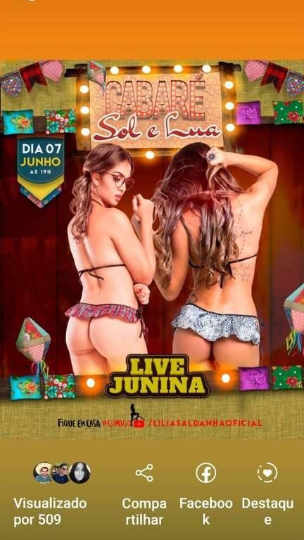 Foto mostra panfleto de divulgação da live do Cabaré Sol e Lua, em Caicó (RN), que vai acontecer na noite deste domingo (7), para arrecadar doações para as garotas que estão sem programas