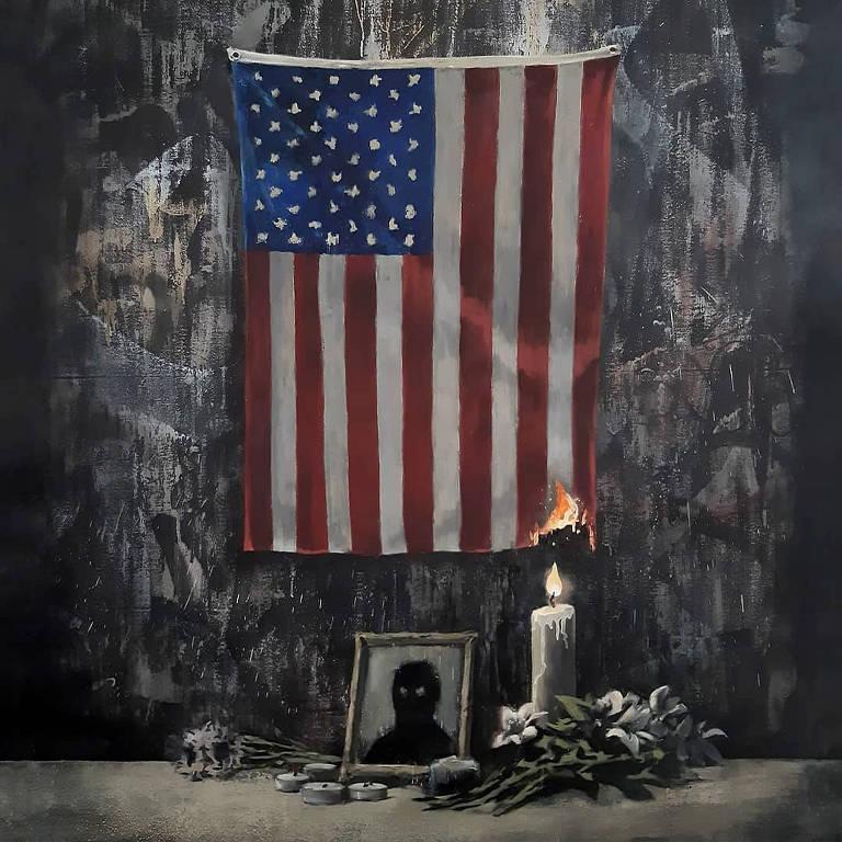 Obra do artista Banksy publicada em sua conta no Instagram
