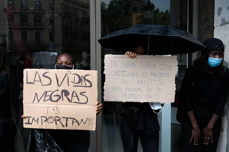 Barcelona tem manifestação antirracista motivado por morte de George Floyd; veja fotos de hoje