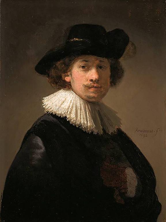 """""""Autorretrato Com Colar e Chapéu Preto"""", de Rembrandt"""