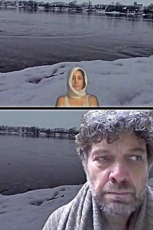em telas separadas, um homem e uma mulher diante de uma paisagem coberta de neve