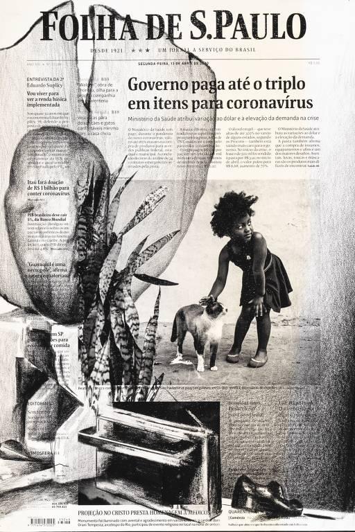desenho em cima de capa de jornal durante a pandemia