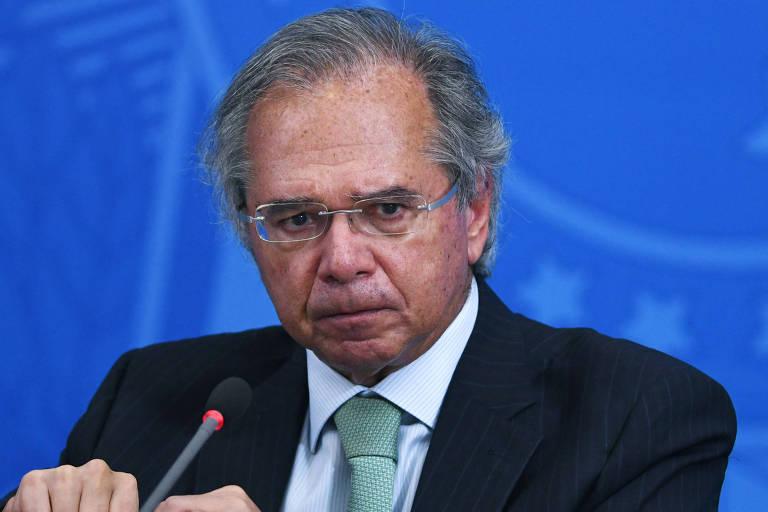 Ministro da Economia, Paulo Guedes, durante pronunciamento à imprensa no Palácio do Planalto