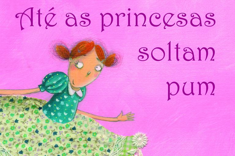 Capa de livro rosa com ilustrada de princesa de vestido estampando com flores azuis e verdes
