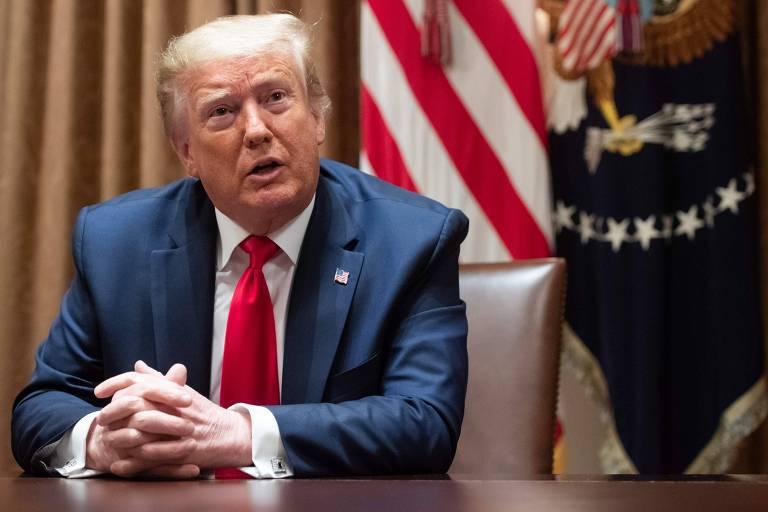O presidente dos EUA, Donald Trump, durante encontro com líderes do movimento negro americano na Casa Branca, nesta quarta (10)