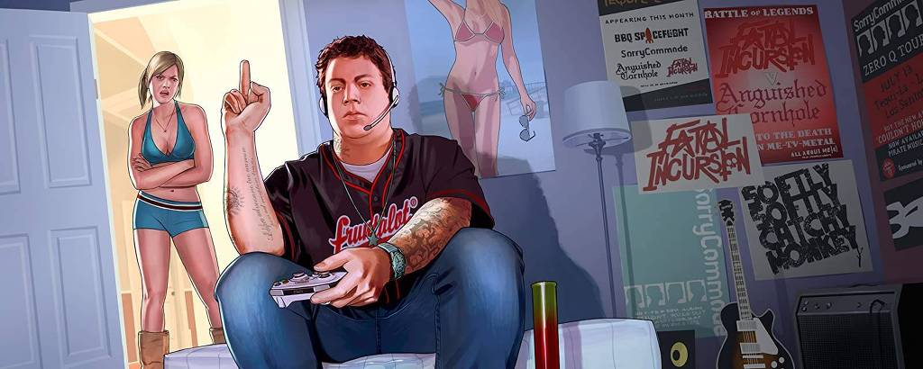 Jimmy De Santa, personagem de 'GTA V' que é retratado como uma caricatura do gamer tóxico