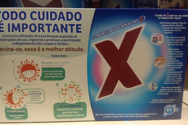 Embalagem de produto da marca Ypê ilustrada com um vírus que lembra o coronavírus; imagem gerou disputa na Justiça com a concorrente Unilever