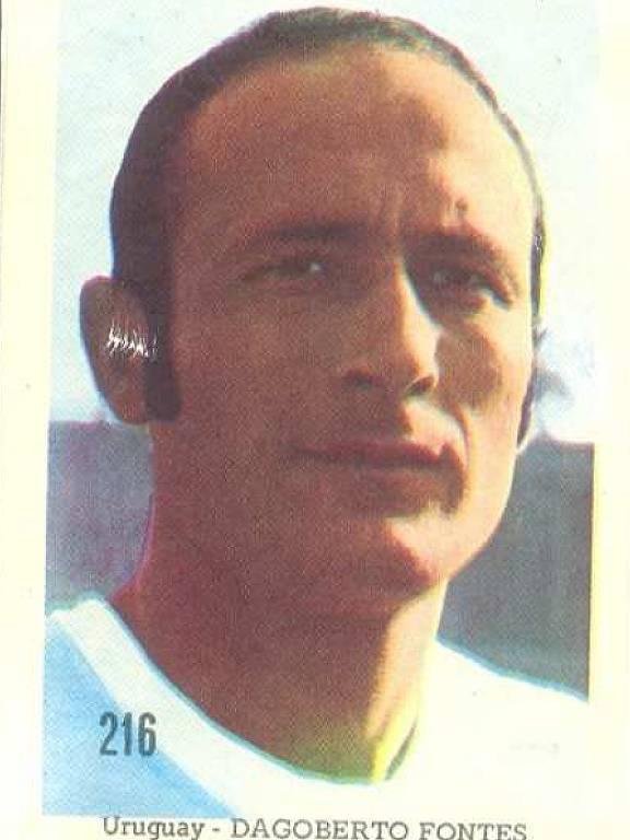 Dagoberto Fontes, em figurinha do álbum da Editora Sadira sobre a Copa do Mundo de 1970