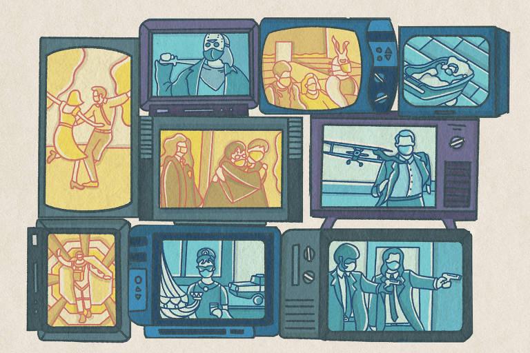 várias televisões com cenas famosas de filmes e personagens usando máscara
