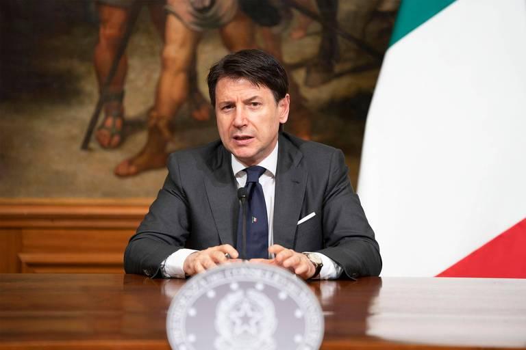 O premiê italiano, Giuseppe Conte, durante entrevista coletiva sobre o coronavírus, em Roma