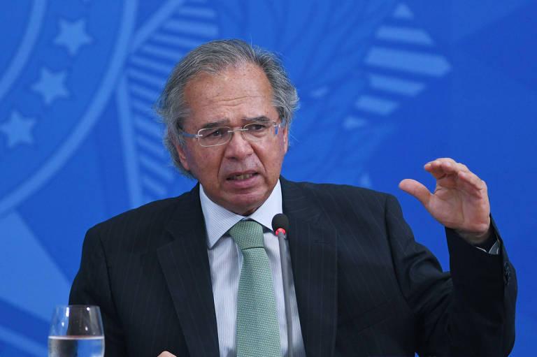 Ministro da Economia, Paulo Guedes, durante coletiva sobre os 500 Dias de Governo