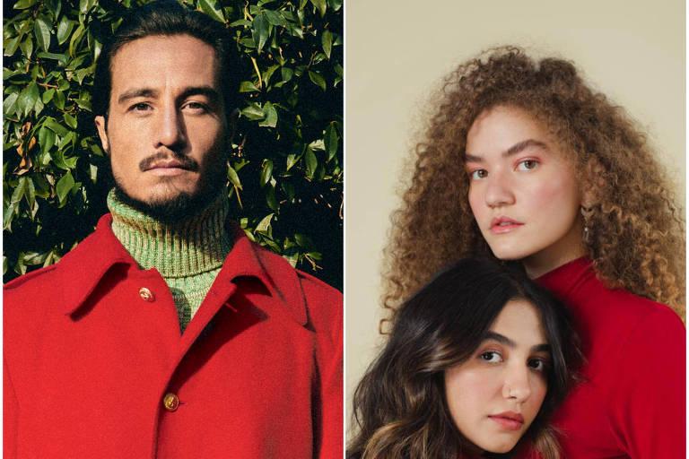 Montagem feita com fotos de divulgação do cantor Tiago Iorc e da dupla Anavitória