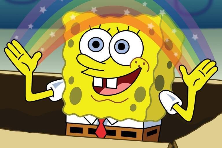"""Bob Esponja, personagem principal da série animada """"Bob Esponja Calça Quadrada"""""""