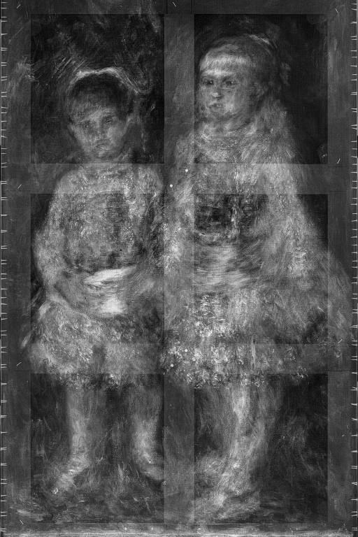 """Raio-x de """"Rosa e azul"""" (1881), de Pierre-Auguste Renoir, do acervo do Masp, foi feito durante a pandemia; procedimento é importante para revelar mudanças na composição da obra e mostrar elementos estruturais, como o chassi e os pregos laterais"""