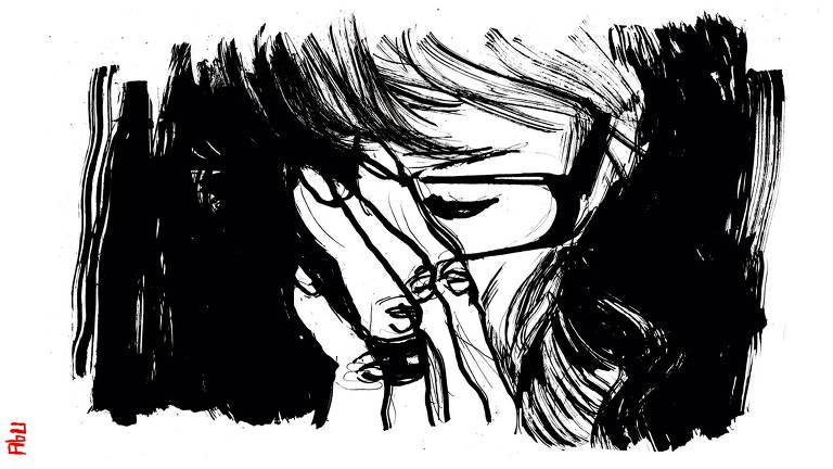 Ilustração feita com pinceladas fortes em preto que revelam um rosto de uma pessoa com óculos e uma mão sob ele