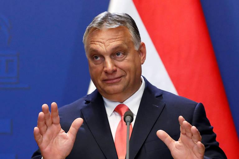 O premiê Viktor Orbán durante entrevista coletiva em Budapeste