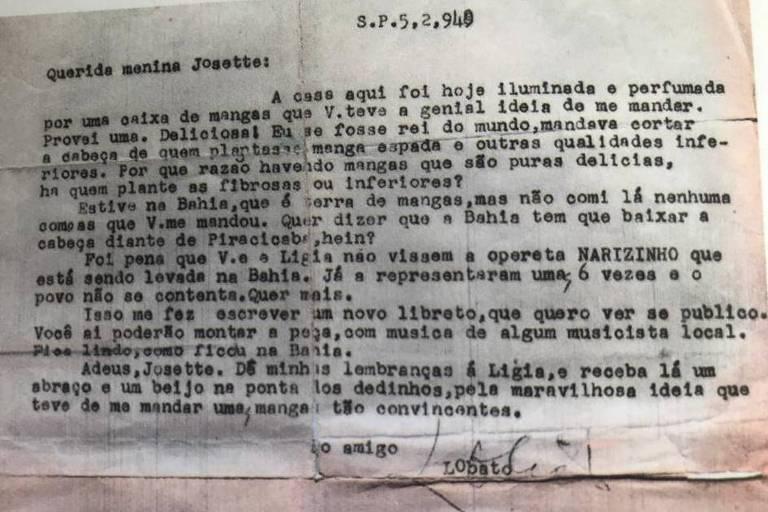 Uma das cartas de Monteiro Lobato a Josette Feres