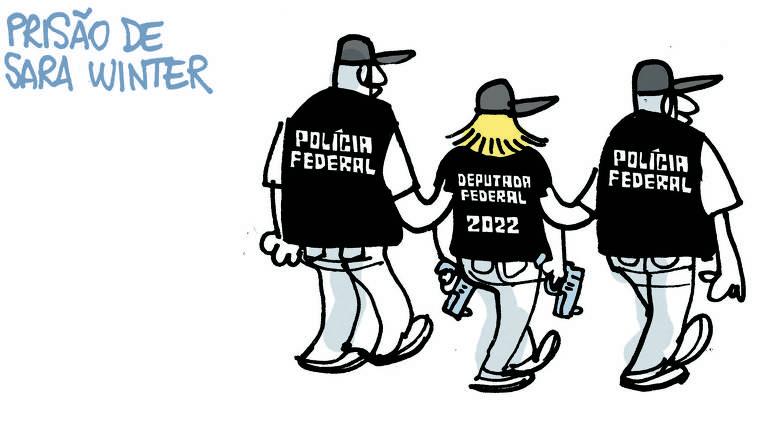 Charge de Laerte publicada na primeira pagina da Folha no dia 16 de junho de 2020. Leva o titulo Prisão de Sara Winter, dois homens carrega uma mulher, que usa um colete escrito Deputada Federal 2021, em suas mãos duas armas, os homens usa um colete escrito Policia Federal