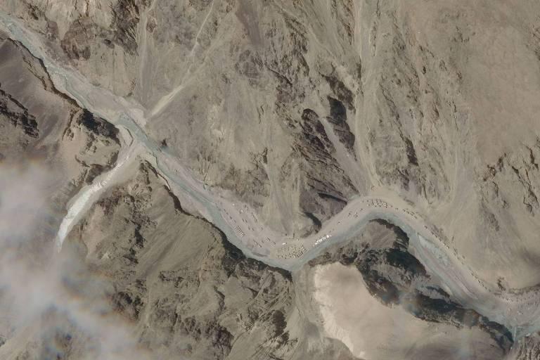 Imagem de satélite da terça (16) mostra o vale de Galwan, área do conflito na segunda