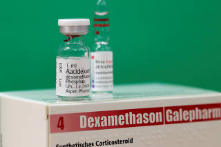 An ampoule of Dexamethasone is seen in this picture illustration