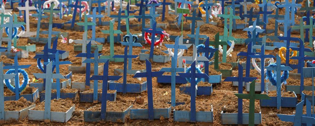 Cruzes de madeira coloridas e solo exposto em cemitério