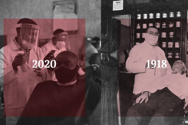 A imagem é dividida em ao meio verticalmente. Na esquerda, o ano 2020 e na direita 1918. Nas duas imagens, médicos cuidam de pacientes, porém na da direita os recursos são menores, assim como os equipamentos de proteção do médico