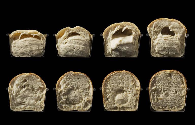 A foto mostra oito etapas de um pão, desde a fermentação até a forma final depois de assado. Os pães estão cortados ao meio e o fundo é preto