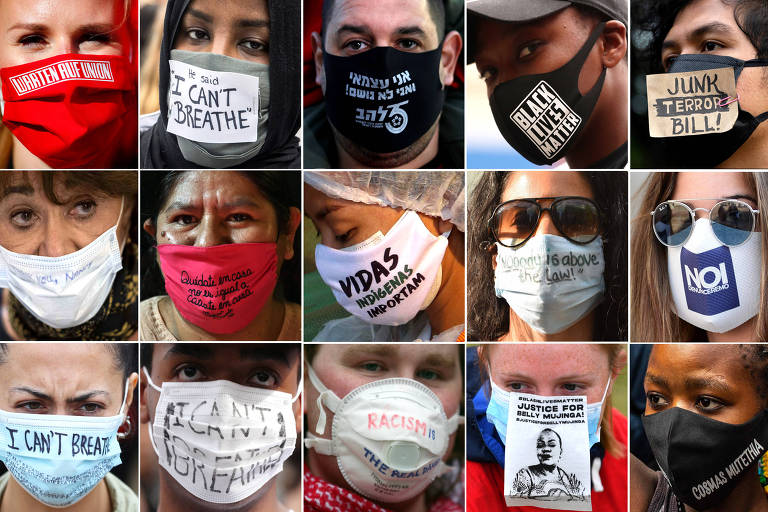 Na pandemia, máscaras com palavras de ordem fazem as vezes de cartazes em protestos