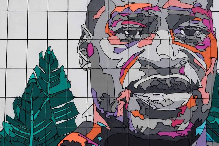 Grafite feito em Bruxelas, na Bélgica, com o rosto de George Floyd