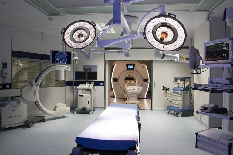 Sala híbrida do HCor (Hospital do Coração), que registrou queda de pacientes no ambulatório durante pandemia do novo coronavírus
