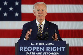 Democratic U.S. presidential candidate Biden speaks during campaign event in Darby, Pennsylvania