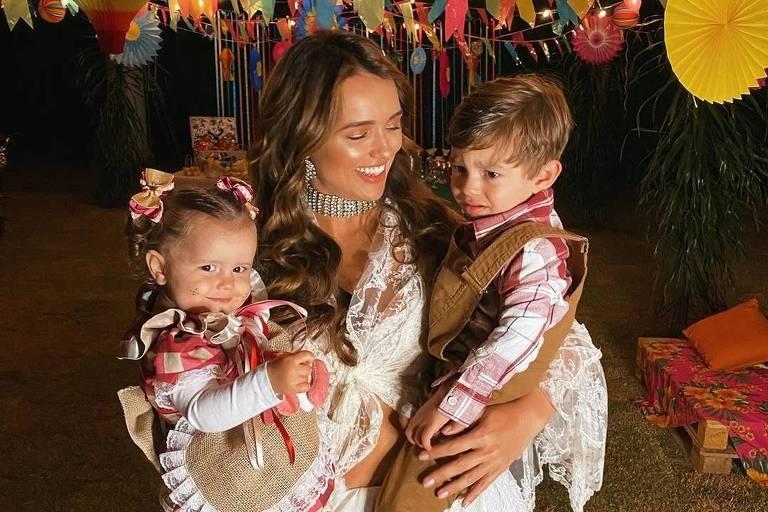 Rafa Kalimann posta foto com os sobrinhos durante festa junina em sua casa