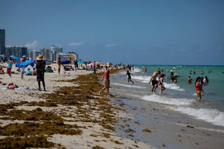 Pessoas frequentam praia em Miami, na Flórida, estado que teve recorde de casos diários por três dias seguidos