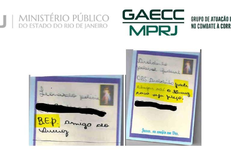 Bilhete encontrado com caderneta de Queiroz em que 'Aroldinho da PF' é mencionado