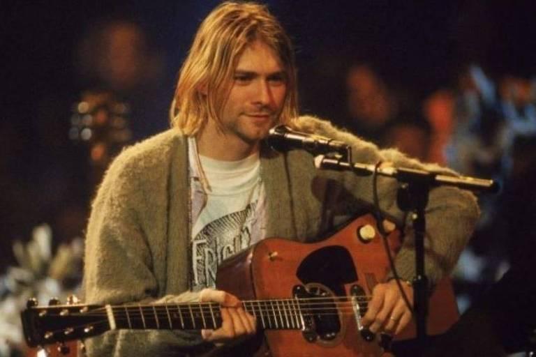 Kurt Cobain durante gravação do álbum MTV acústico do Nirvana