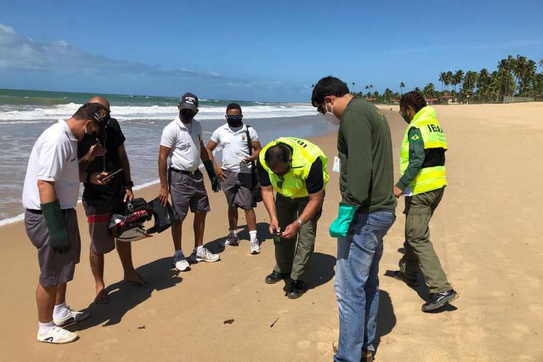Equipe formada por técnicos de órgãos ambientais coleta vestígios de petróleo