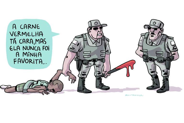 O cartunista João Montanaro, em charge publicada na edição de 9 de dezembro de 2019 da Folha, faz alusão ao racismo; a maioria dos nove jovens mortos na ação policial em Paraisópolis era negra