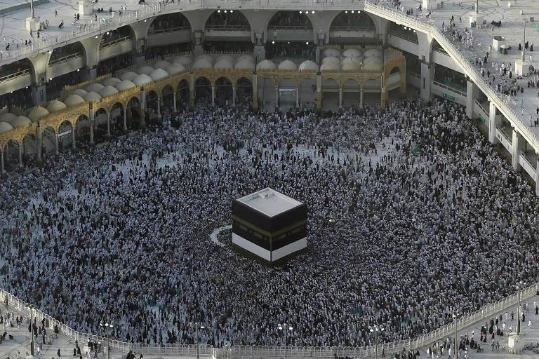 Peregrinos participam de encontro em Meca antes do início do Hajj em 2019