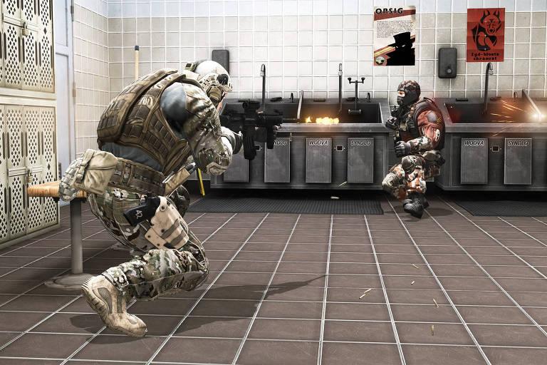 Soldado americano atira contra inimigo no game Proving Grounds, da série America's Army