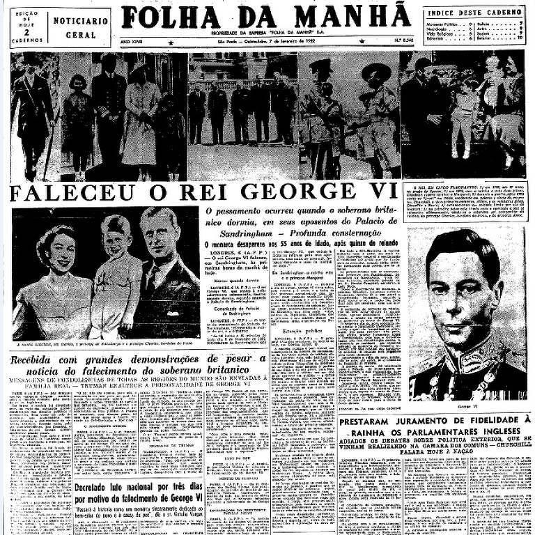 Primeira página da Folha da Manhã, publicada no dia 7 de fevereiro de 1952, sobre a morte do rei britânico George  6º