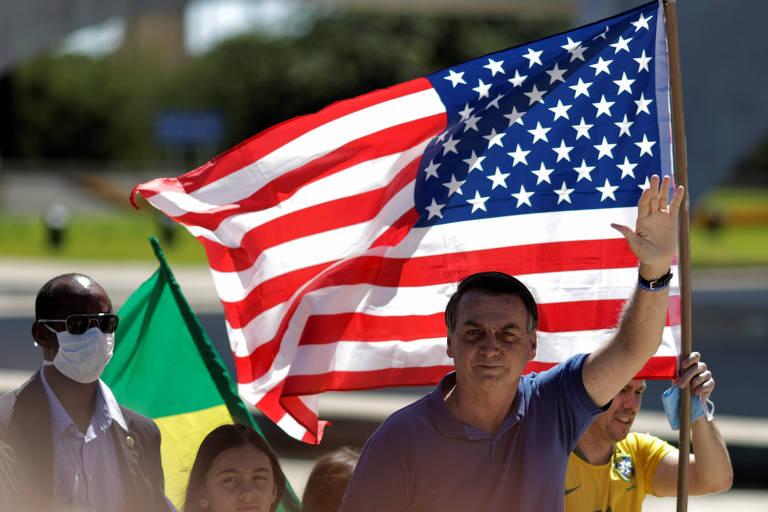 Jair Bolsonaro (sem partido), durante manifestação em Brasília