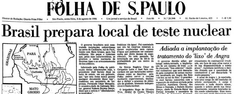 "Capa do jornal com manchete ""Brasil prepara local de teste nuclear"""