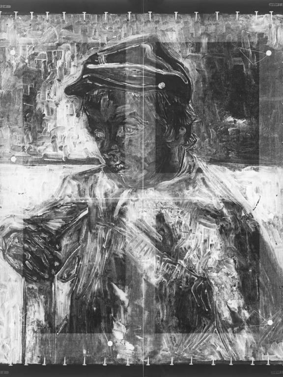 """Raio-x de """"O Escolar"""" (1888), de Vicent van Gogh, do acervo do Masp, foi feito durante a pandemia; procedimento é importante para revelar mudanças na composição da obra e mostrar elementos estruturais, como o chassi e os pregos laterais"""