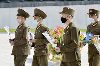 North Korean military personnel visit Mansu Hill in Pyongyang
