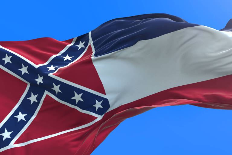 O quadrado vermelho, no canto superior esquerdo da bandeira do estado do Mississippi, reproduz símbolo do Exército Confederado, que lutou pela manutenção da escravidão na Guerra Civil Americana (1861-1865)
