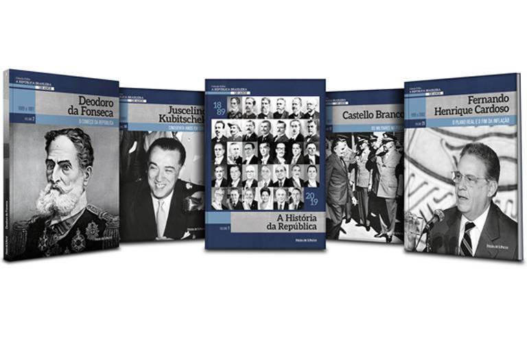 """Capas dos livros da """"Coleção Folha 130 Anos da República"""", organizado por Oscar Pilagallo"""
