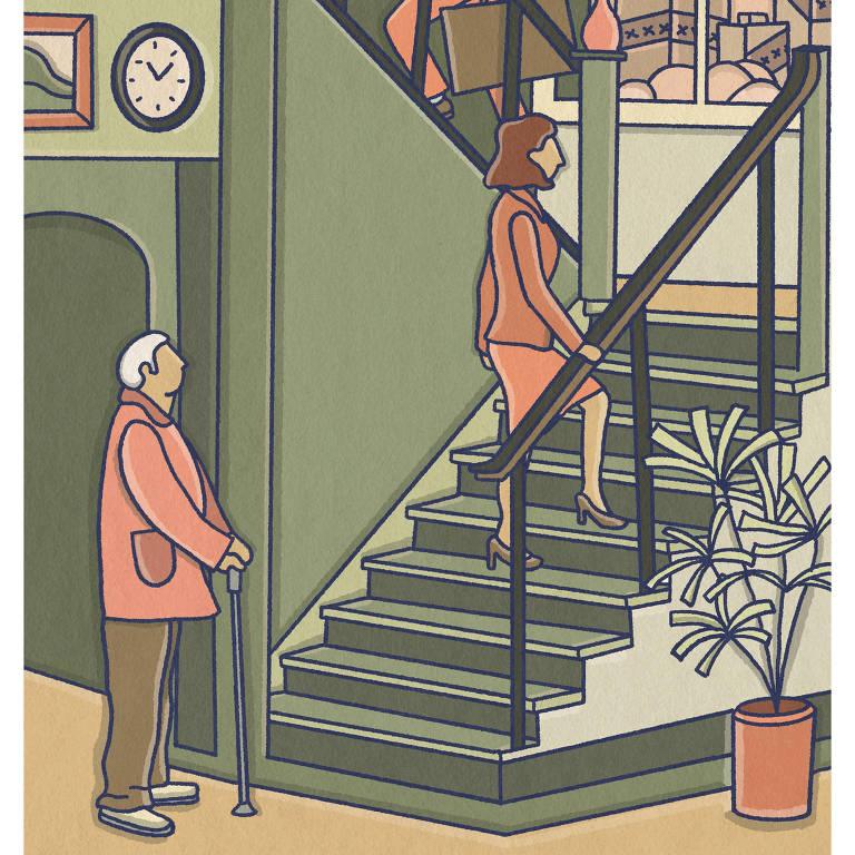 ilustração em que pessoas jovens sobem rapidamente uma escada enquanto um homem idoso, segurando uma bengala, ainda está no andar térreo